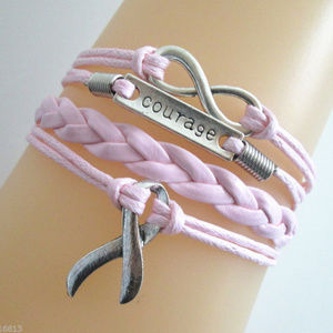 PINK Infinity Hope Cancer COURAGE Leather Bracelet